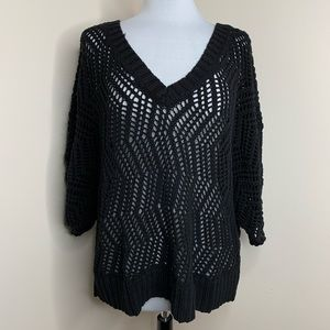 Lane Bryant Black Crocheted Sweater 14-20